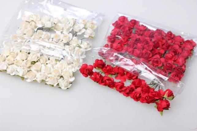 Розы d=1см красно/белые (64шт в уп.) 8906