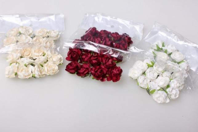 Розы d=2,5см красн/бордо/роз/бел/шампань (20шт в уп) 8920