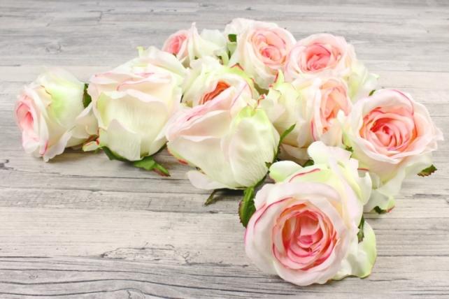 Розы 7см ( 12 шт в уп)  кремово-розовые SUN388-1579