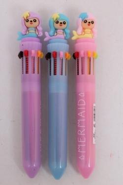 Ручка (10 стержней)  Русалки (роз/голуб/сирен) 1шт микс 15см