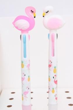 Ручка (4 стержня) Фламинго (роз/бел) 1шт микс 16см