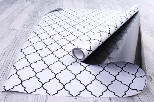 Рулон Пленка матовая двухцветная 60мкм 60см x 10м Ковка жемчуг/черный00073050
