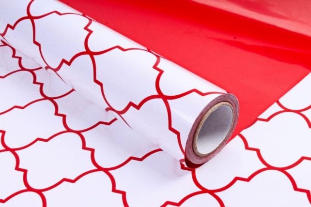 Рулон Пленка матовая двухцветная 60мкм 60см x 10м Ковка жемчуг/красный00072675