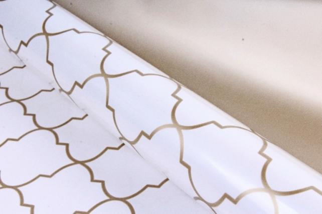 Рулон Пленка матовая двухцветная 60мкм 60см x 10м Ковка жемчуг/золото00072496