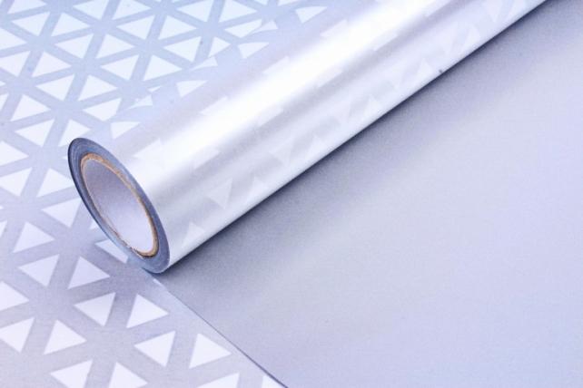 Рулон Пленка матовая двухцветная 60мкм 60см x 10м Кристаллы жемчуг/серебро00073055