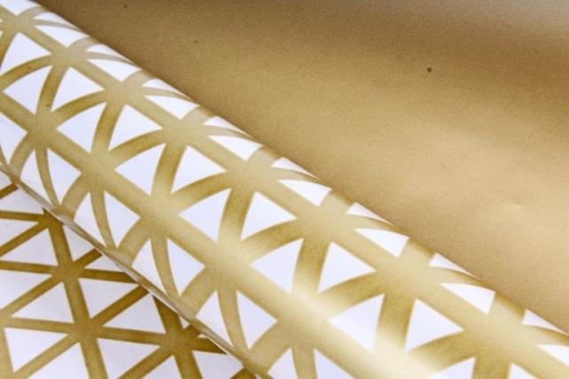 Рулон Пленка матовая двухцветная 60мкм 60см x 10м Кристаллы жемчуг/золото00073173