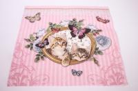 Салфетка декупажная 33*33 Королевские котята на розовом 13307930