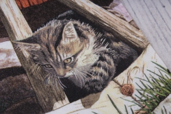 салфетка декупажная 33*33 кот на старом колесе  24l013