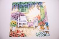 Салфетка декупажная 33*33 Скамейка в саду 13309065