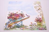 Салфетка декупажная 33*33 Тачка с цветами 363413