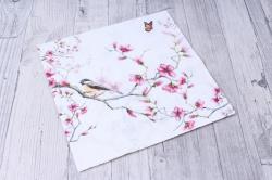 Салфетка декупажная 33х33см  Птица и цветение на белом13311215