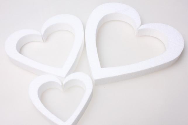 сердце из пенопласта вид 3 (разноразмерные) 20/16/10см (3шт в уп)