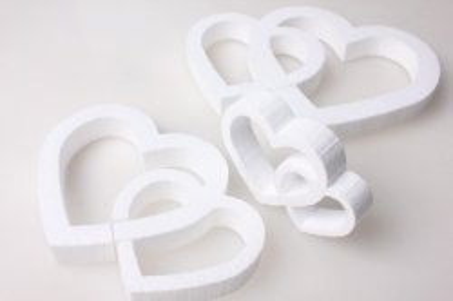 Сердце из пенопласта вид 4 (двойные) (3шт в уп) 04-Се
