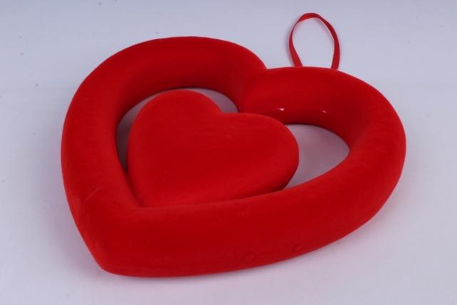 Сердце подвеска Флок красное 21*24