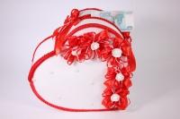 Сердце свадебное для денег - бело/красное (16) 33x12см h=29см