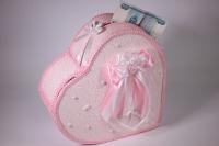 Сердце свадебное для денег - бело/розовое (16) 33x12см h=29см