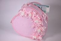 Сердце свадебное для денег - розовое (16) 33x12см h=29см