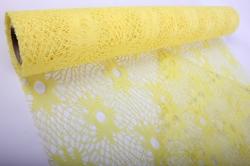 """Сетка """"Кружево Цветы"""" Желтая  54см*6ярд"""