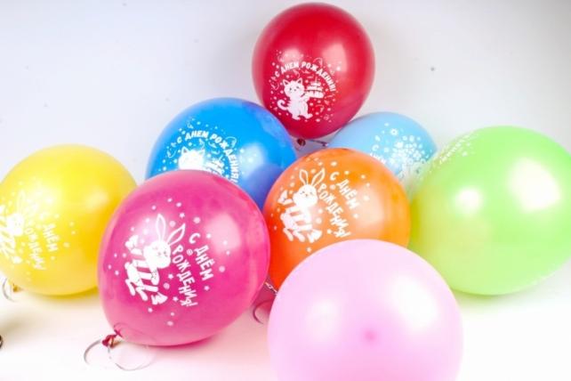 Шар (12''/30 см) С Днем Рождения! (зверята с подарками), Ассорти, пастель, 2 ст, 50 шт.612690