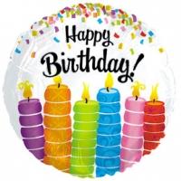 Шар фольгированные с гелием (46см) Круг, С днем рождения (красочные свечи), Белый (1шт)