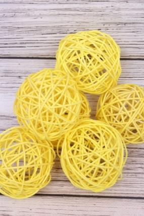Шар из ротанга 7,5 см желтый ( 6 шт/уп)  HL0707A