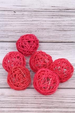 Шар из ротанга 7,5 см красные ( 6 шт/уп)  HL0707A
