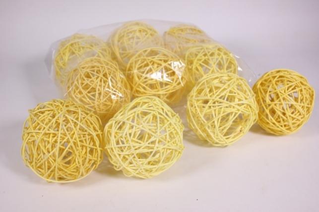 Шар из ротанга 10см желтый  (10шт в уп) XF111620 4