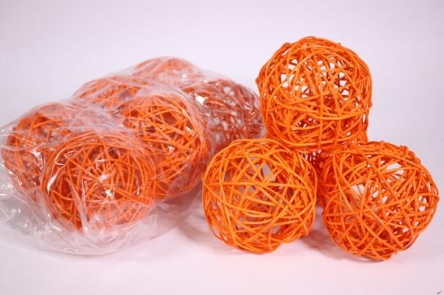 Шар из ротанга 10см оранжевый (10шт в уп) XF111620 3MIX
