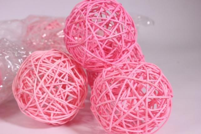 Шар из ротанга 10см розовый (10шт в уп) XF111620 3MIX