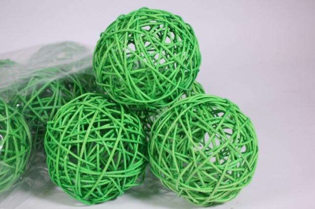 Шар из ротанга 10см зеленый  (10шт в уп) XF111620 4
