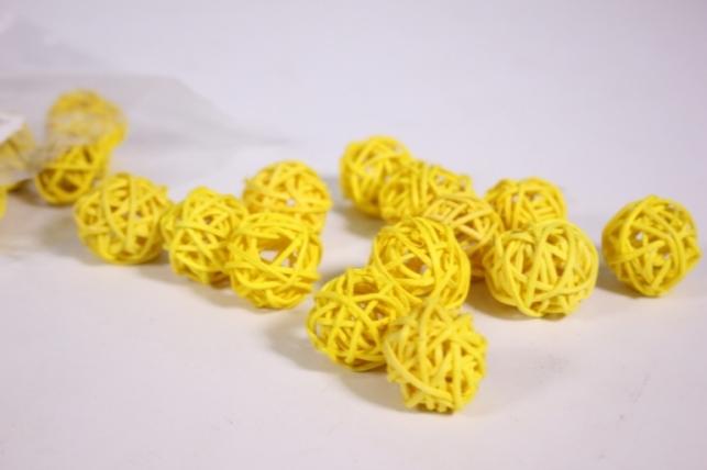 Шар из ротанга 2,5см желтый (20 шт в уп) CS8A233 1MIX