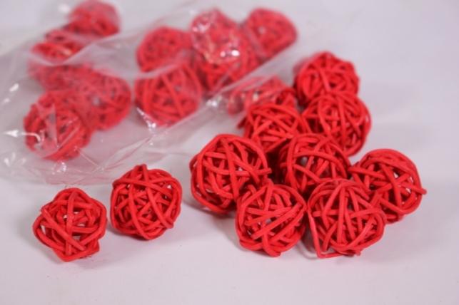 Шар из ротанга 2,5см красный(20 шт в уп) CS8A233 1MIX