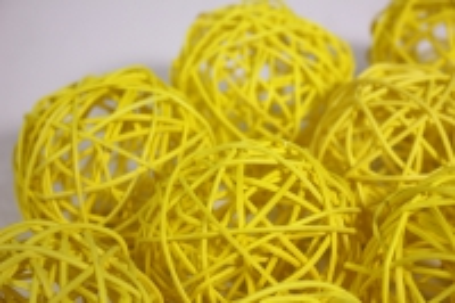 Шар из ротанга 8см желтый (10шт в уп) XF111620 3MIX