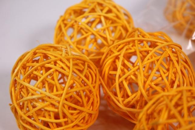 Шар из ротанга 8см оранжевый (10шт в уп) XF111620 3MIX