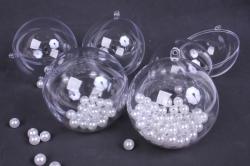 Шар прозрачный d= 8см пластик (из 2-х половинок)  (5 шт в уп)  1482  SKB-80