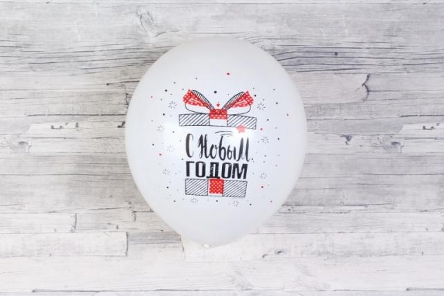 """Шар (12""""/30см) С Новым Годом! (снежинки и подарки), Белый (200), пастель, 5 ст, 50шт Арт.711291"""