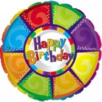 Шары фольгированные с гелием (46см) Круг, С днем рождения (разноцветный)  (1шт)