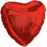 Шары фольгированные с гелием (46см) Сердце, Красный (1шт)