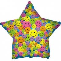 Шары фольгированные с гелием (46см) Звезда, Разноцветные улыбки, Синий (1шт)