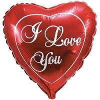 Шары фольгированные с гелием (81см) Сердце, Я люблю тебя, Красный (1шт)