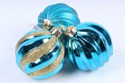 Шары новогодние голубые набор (3шт)  AT-33138 (И)
