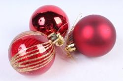 Шары новогодние красные набор (6шт)AT-33139 (И)