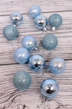 Шары новогодние в коробке d=4см (12шт в уп) голубые