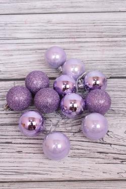 Шары новогодние в коробке d=4см (12шт в уп) лиловые