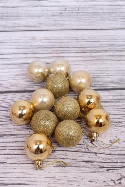 Шары новогодние в коробке d=4см (12шт в уп) золото