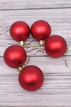 Шары новогодние в тубе d=5см (5 шт/уп) красные