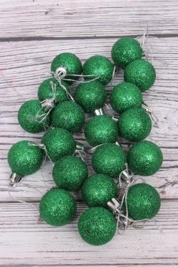 Шары новогодние в тубе d=3см (20шт в уп) зеленые с блестками