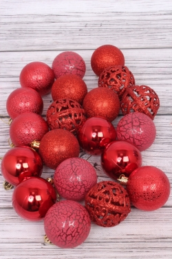 Шары Новогодние Винтаж с резными шарами в тубе d=8см красные (20шт в уп)