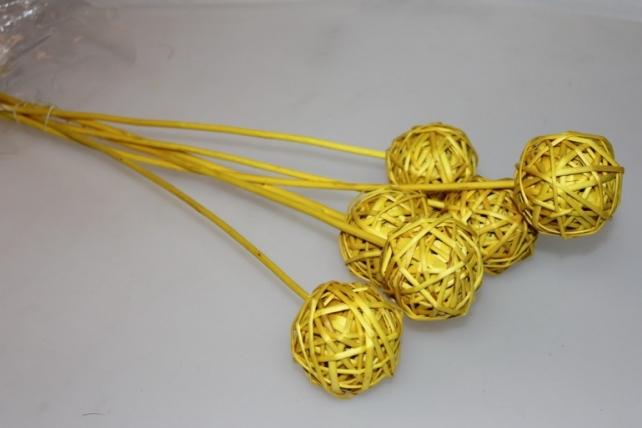 Шары ротанг 1260 на пике (6 шт в упак) - Жёлтый
