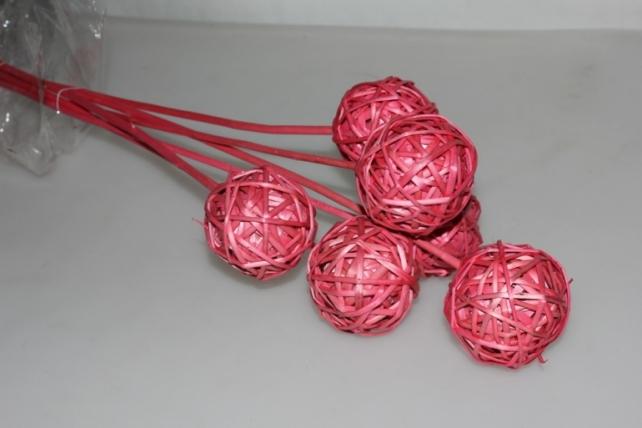 Шары ротанг 1260 на пике (6 шт в упак) - Розовый
